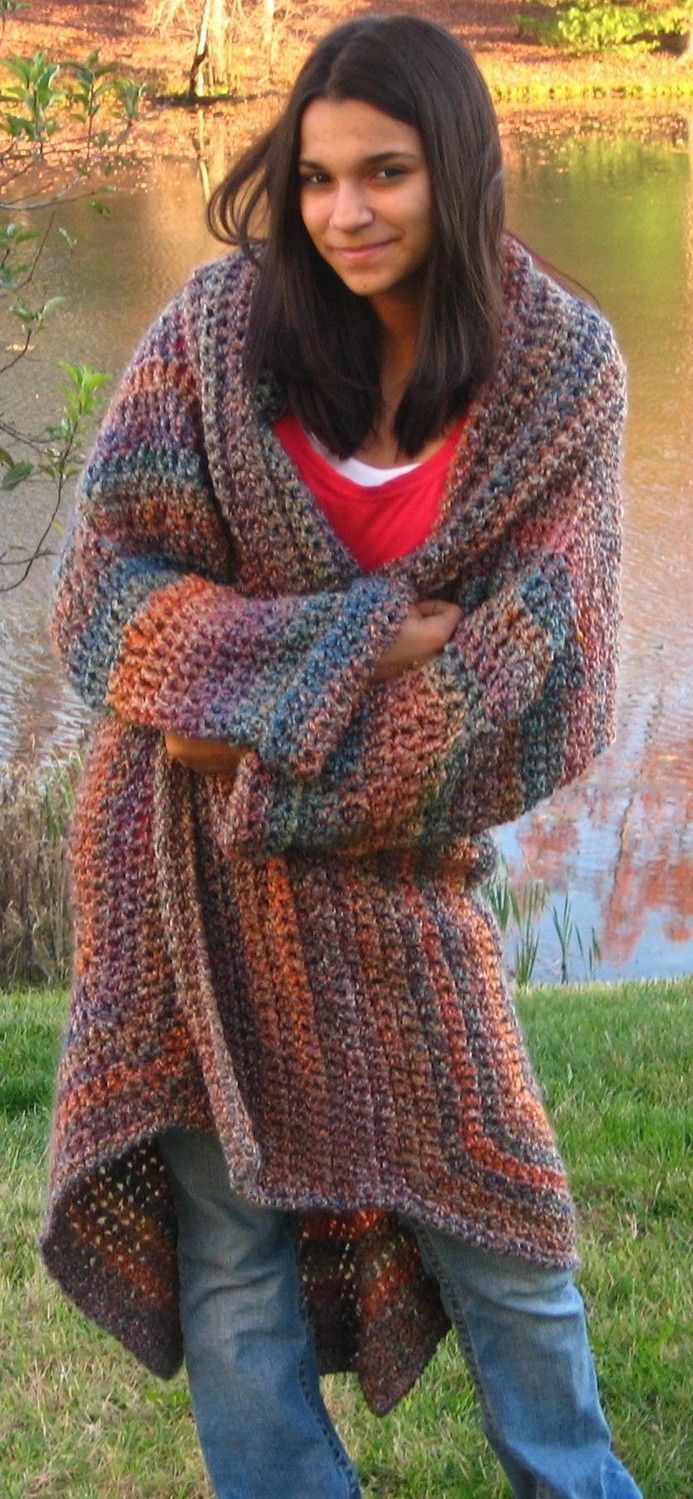 Crocheted Sweater Coat in Painted Desert - would like to figure out the pattern for this.....