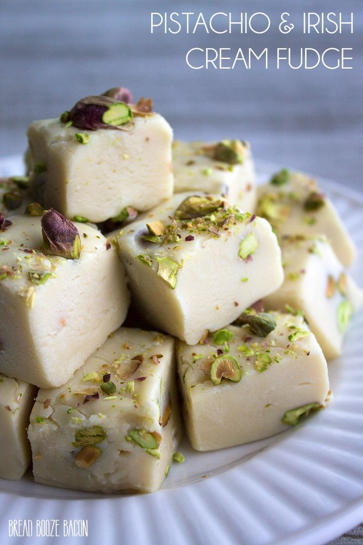 This fudge is a mixture of my two favorite things…booze and chocolate! I love how the flavors of the Irish Cream comes through in this Pistachio & Irish Cream Fudge! via @breadboozebacon