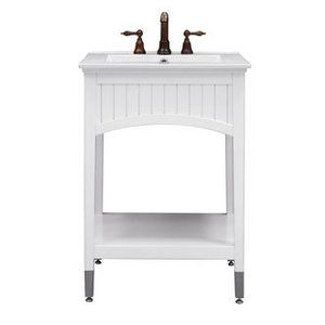 Sagehill, SA2421, Bathroom Vanities, Sagehill Designs Sa2421 24 White Bathroom Vanity Cabinet With Open Shelf From The Seaside Collection