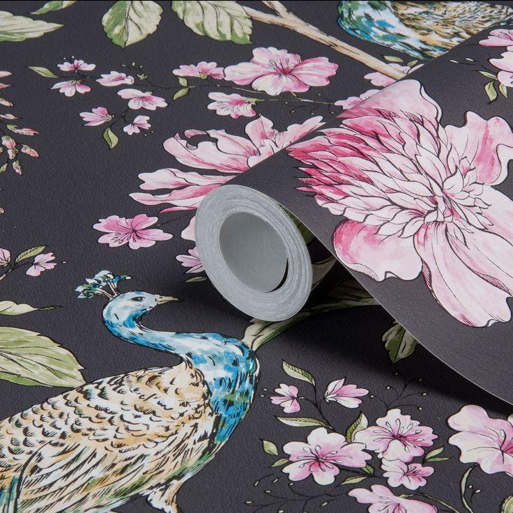 Hibiscus Charcoal Peacock Floral Wallpaper   Departments   DIY at B&Q