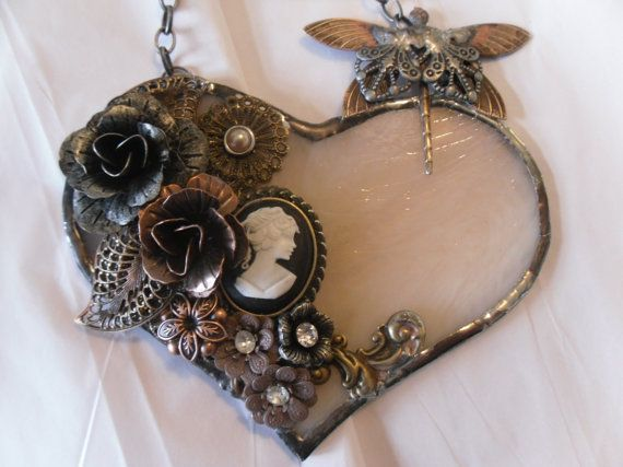 Handmade Victorian Steampunk Wispy Pink Stained by TheMosaicMind, $58.00