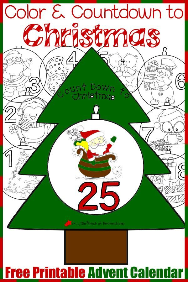 Free Printable Advent Calendar: Color and Countdown to Christmas.  Each year kids could color a new set of ornaments or you could laminate them and flip through them each year.  Get this FREE download at:  http://www.alittlepinchofperfect.com/2015/11/free-printable-advent-calendar-to-color.html?utm_content=buffer24759&utm_medium=social&utm_source=pinterest.com&utm_campaign=buffer