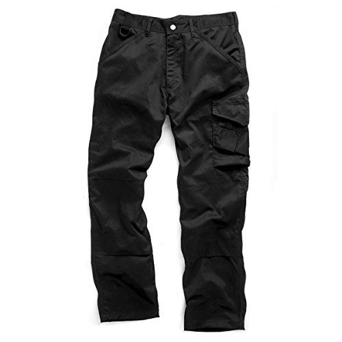 """From 9.99 Work Trouser Men Cargo Combat Trouser Heavy Duty With Knee Pad Pocket (waist Size 32"""" Leg Lenght 30"""" Black)"""