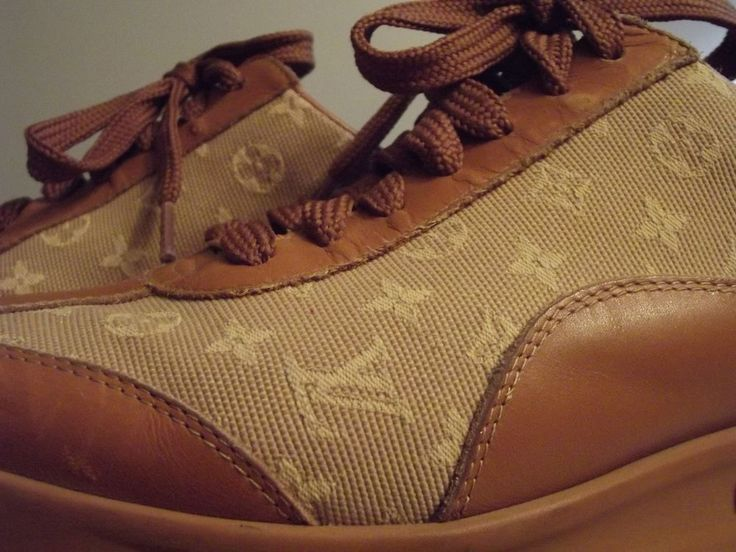 Louis Vuitton Monogram Cognac Leather and Canvas Lace up Sneakers size Italy 37 #LouisVuitton #Luxury
