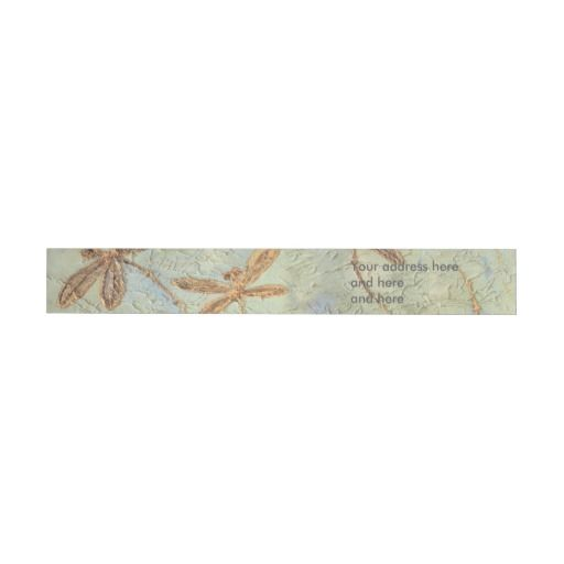 Dragonfly Dance Gold Wraparound Address Label. Customize with your details! Look for discount codes too :) #addresslabel #label #sticker #dragonfly #dragonflies #lyndseyart