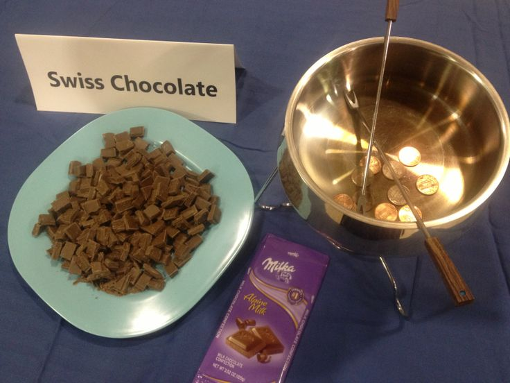 World Thinking Day - Our Chalet, Switzerland    Everyone loves chocolate! Grab some Swiss chocolate (Milka is actually made in Germany, but its the closest thing you will find at Walmart for a reasonable price.) Chop up the pieces. I cut the molded squares in half, just to be sure there was enough to go around. Keep a wrapper around as a visual but also just in case anyone needs to check ingredients for allergies. A fondue pot serves well as a collection pot for pennies for WAGGGS. Très…