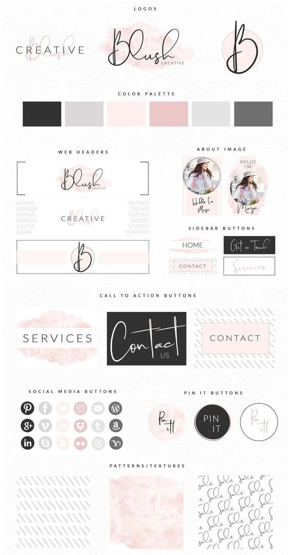 DIY Website Branding Kit Photoshop, Blog Brand, Br…
