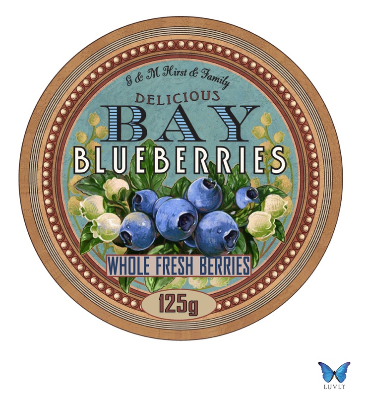 Bay Blueberries, Hawkes Bay, New Zealand. Label Design By Luvly Ltd, www.luvly.co.nz