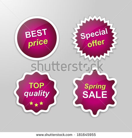 Set of glowing vector stickers with Sale theme - purple | http://www.shutterstock.com/g/ajinak