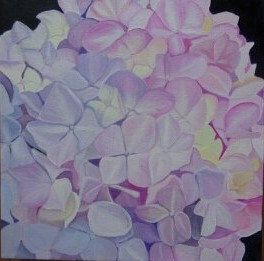 Original oil painting Pink and yellow Hydrangea by FloralArtbyTracey on Etsy