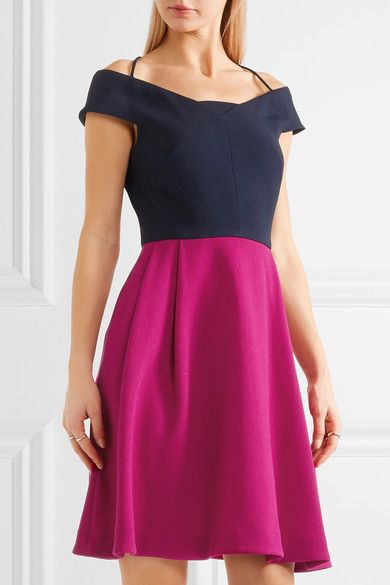 Roland Mouret - Natan Two-tone Off-the-shoulder Wool-crepe Mini Dress - Pink - UK
