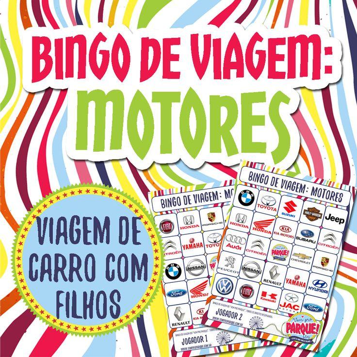 Bingo de Viagem tema Motores das Estradas do Brasil. Baixe e divirta-se!