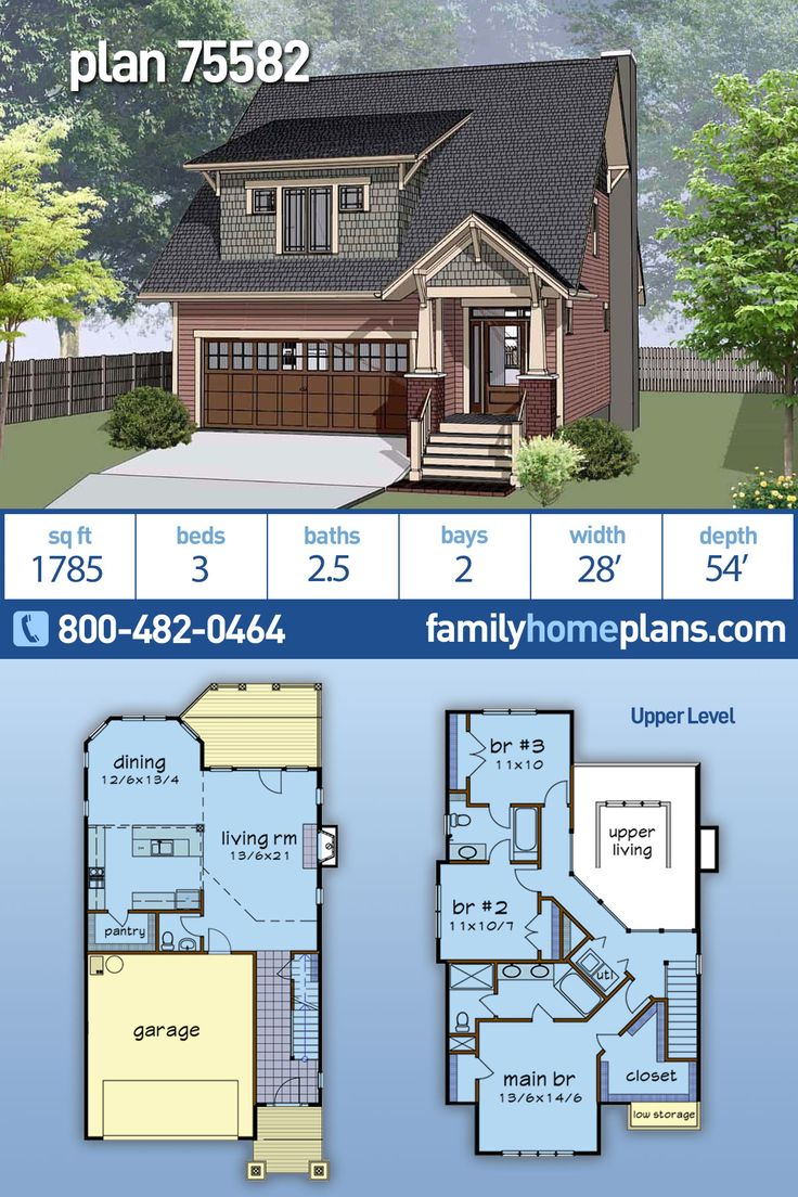 Narrow Lot Style House Plan 75582 with 3 Bed, 3 Bath, 2