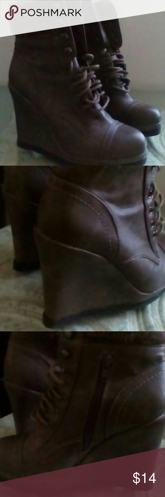 Ankle Boots Wedge ankle boot with side zip ,laced in front Shoes Ankle Boots & Booties