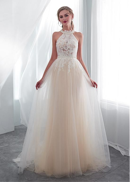 38b6e55afbdc In Stock Exquisite Tulle Halter Neckline See-through Bodice A-line Wedding  Dress With Lace Appliques   Beadings