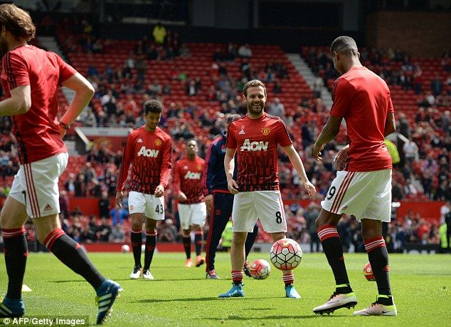 Juan Mata, pictured during the warm-up before Manchester United's postponed game against Bournemouth