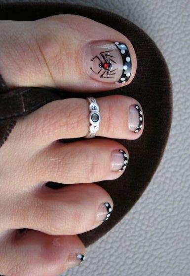 Spider Toes! Halloween Pedicure Nail Design, Nail Art, Nail Salon, Irvine, Newport Beach