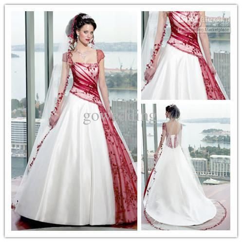 Wholesale wedding dresses buy style beautiful white and Red a line wedding dress
