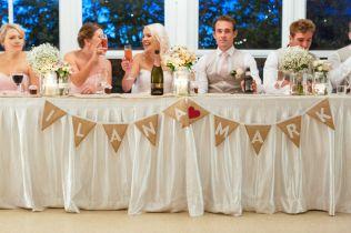 Table set up inside reception room