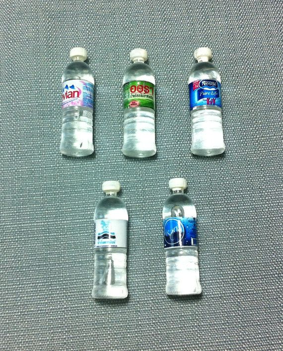 5 Miniature Mineral Water Bottles Set Plastic Drinks Refreshment Bottle Cute Little Tiny Small Dollhouse Supply Food Drink Jewelry Beads