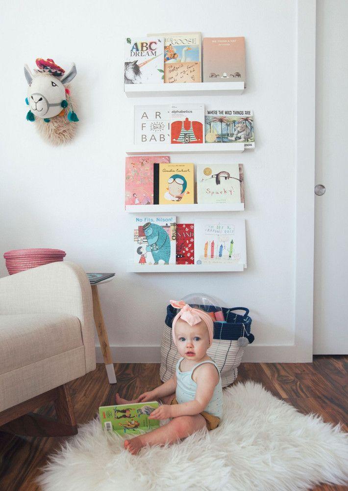 Cute Baby Nursery Inspiration With Whitewashed Walls Ikea Floating Shelves Nursery Bookshelf Nursery Shelves