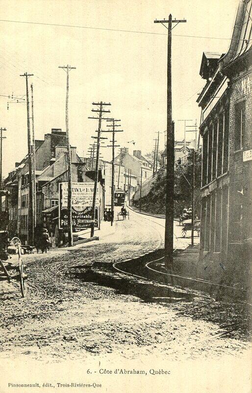 Côte d'Abraham, à Québec, vers 1900 coins rue St-Vallier et de la Couronne