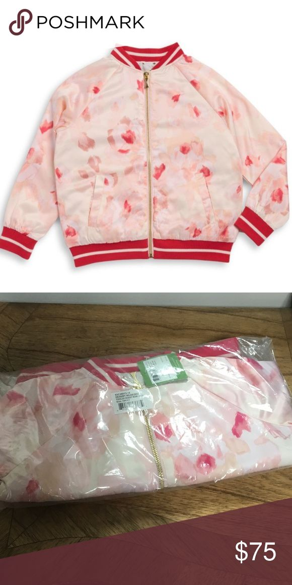 KS toddler girl quilted satin rose bomber jacket Beautiful pink satin bomber jacket with rose print and gold zipper by kate spade New York.  Quilted lining, front pockets.  Brand new in package with tags.  Current 2017 collection.  Pet fee smoke feee posher.  Coordinating skirt posted separately kate spade Jackets & Coats