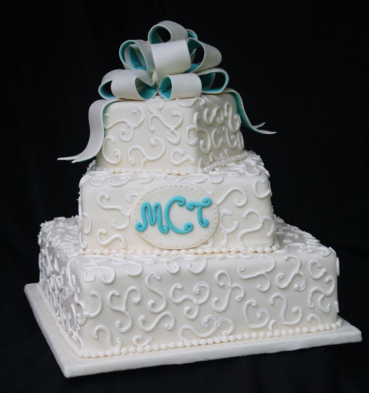 pictures of wedding cakes | Adventures in Savings: Rose Bakes... An Ivory and Teal Wedding Cake