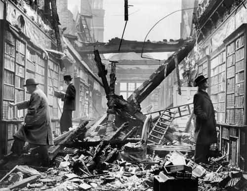 London readers continue to browse at a bombed-out library, 1940.
