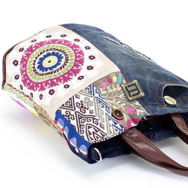 #norakocziszky #handmade #bag #colors #mandala #blue #jeans