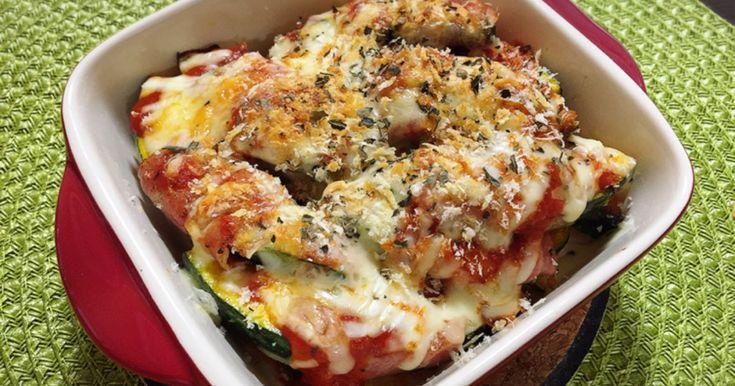 かぼちゃのベーコン巻きに、ピザソースとチーズをかけてこんがり焼きました♪バジルが香ってイタリアンな味が楽しめます^^