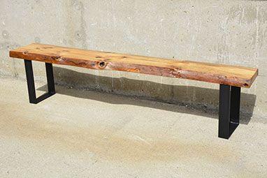 Reclaimed Live Edge Barn Wood Steel Bench