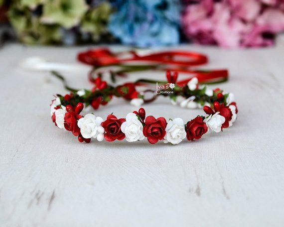 Red And White Headband Christmas Flower Hair Wreath Wedding Flower