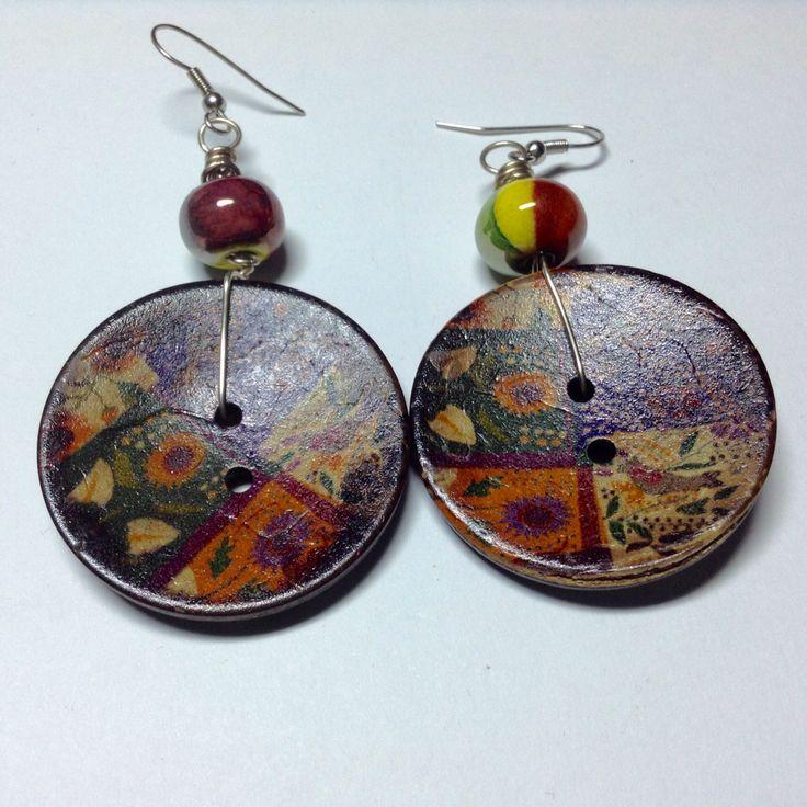 https://www.facebook.com/TheodoraCheiropoietoKosmema/ Earrings with buttons and ceramic beads