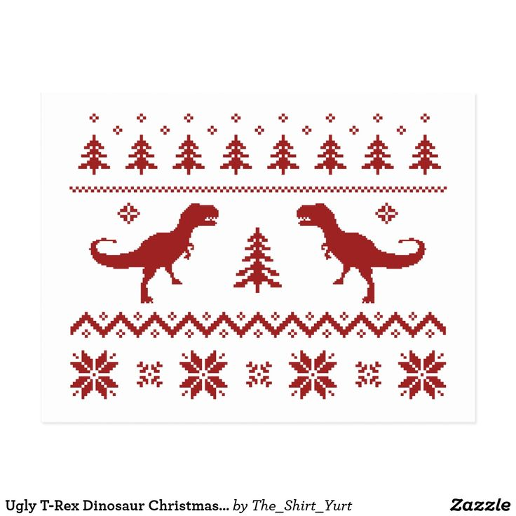 Ugly T-Rex Dinosaur Christmas Sweater Postcard This ugly T-Rex Christmas sweater makes a great holiday gift...or an interesting conversation starter. Don't go with the typical vintage moose or reindeer- go tyrannosaurus rex! Merry Dino Christmas!