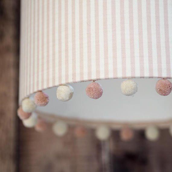 Pom Pom Lampshade Girls Room Baby S Room Pink Etsy Pink Lampshades Baby Room Lamps Drum Lampshade