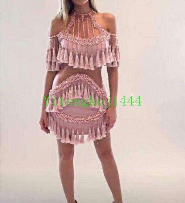 Fashion Womens Tassels Pears Tassels Hollow Out Lace Mini Skirt Dress Pink B