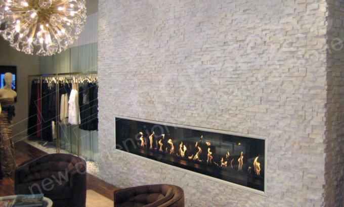 White Natural Stacked Stone Veneer Fireplace Stack Stone