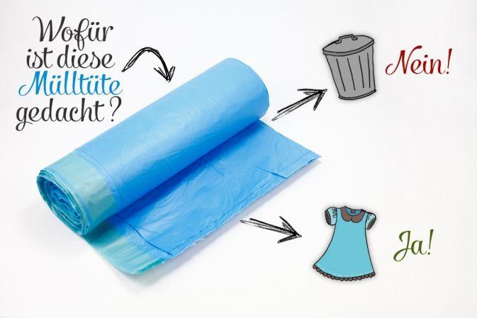 Einfache, aber geniale Idee: Schnittmuster abpausen geht besonders gut mit festen Müllbeuteln