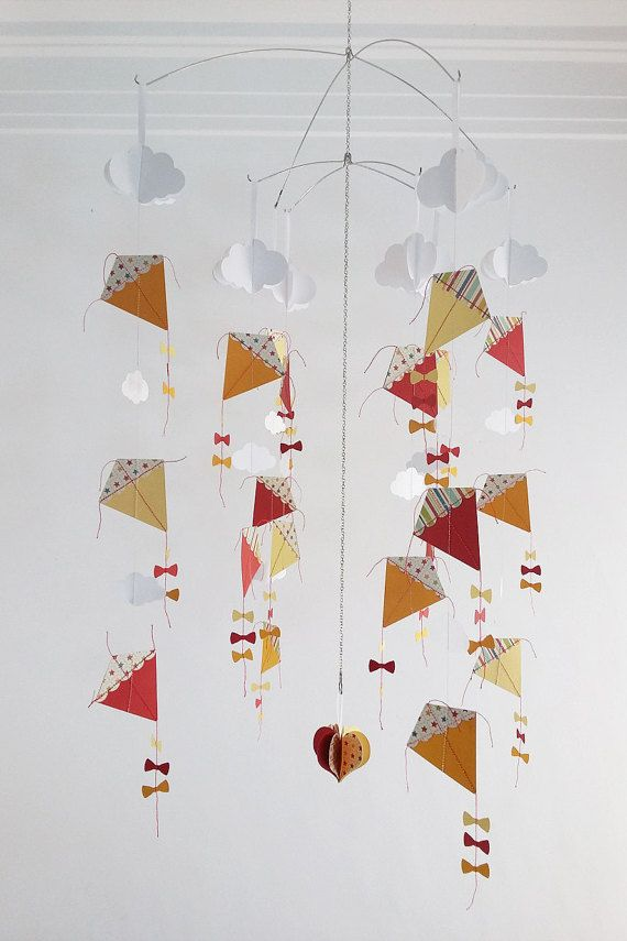 8 x Strings - Kite and Clouds Hanging Mobile- Perfect for the playroom or Babies Nursery