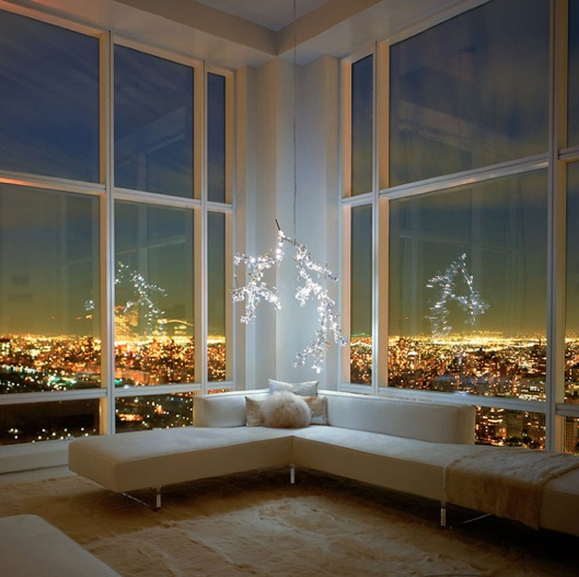 this is perpetually in my dreams-one day: Living Rooms, Lights Fixtures, Window, Interiors, The View, Modern Home, Branches, Cities Lights, Cities View