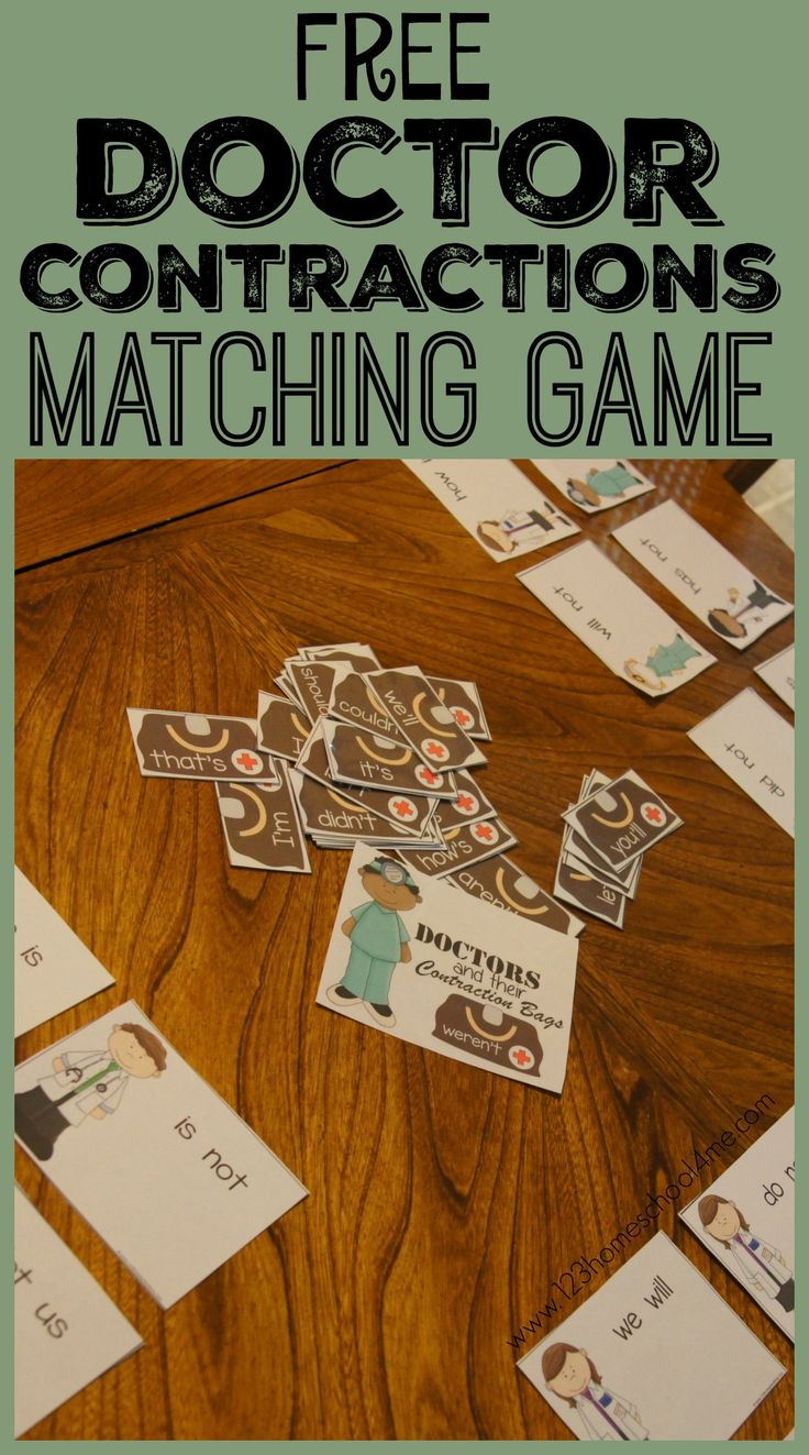 FREE Doctor Contractions Matching Game - This is such a fun way for kids to practice contractions in a educational game for 2nd grade, 3rd grade, 4th grade, and 5th grade students at home or in homeschool.