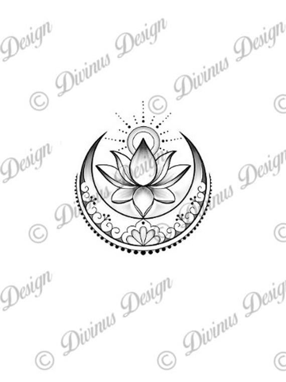 Lotus with Sun and Moon Tattoo and Stencil – Instant Digital Download