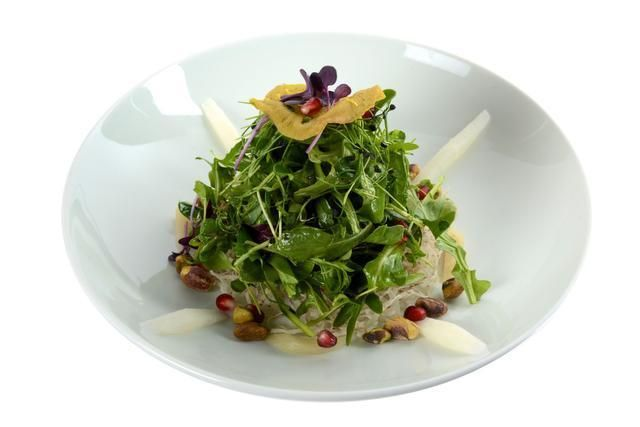 An A-to-Z guide to Miami Spice 2014: Green salad with crispy taro root and plum dressing is on Hakkasan's Miami Spice menu.