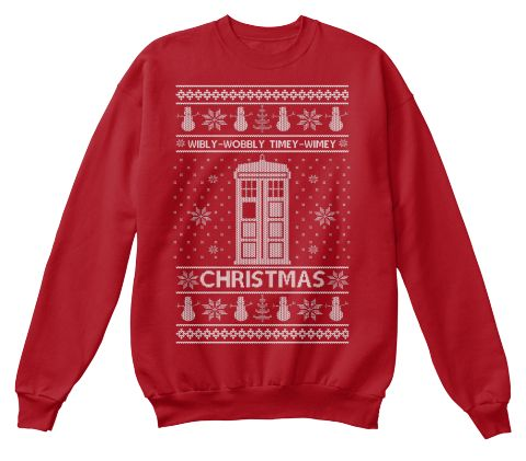 Wibly Wobbly Timey Wimey Christmas Deep Red  Sweatshirt Front