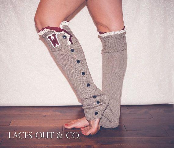 Women's Washington State University WSU knitted Lace Boot Sock Button Down Leg Warmer Sock boot topper on Etsy, $29.50