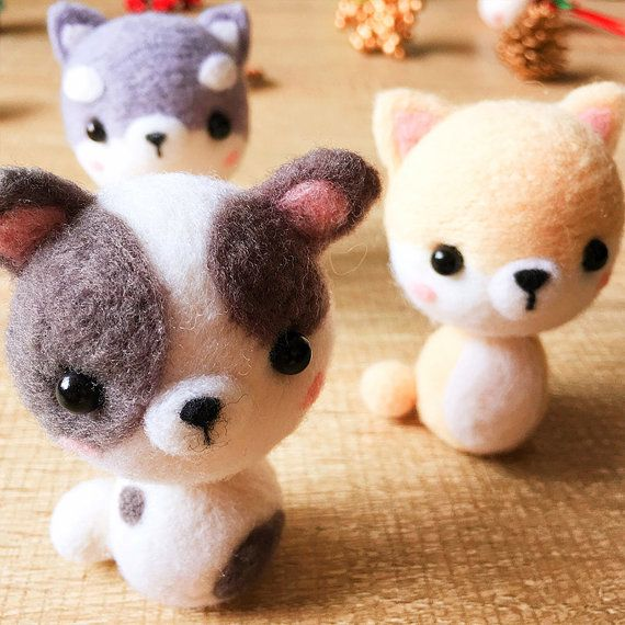 Needle felted felting kit project Animals dog cute for beginners starters