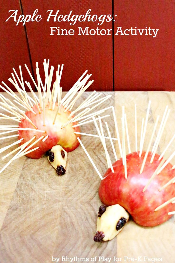 Apple Hedgehogs: A healthy and fun snack kids can make to help develop fine motor skills. Perfect for a fall or apple theme in your preschool classroom!