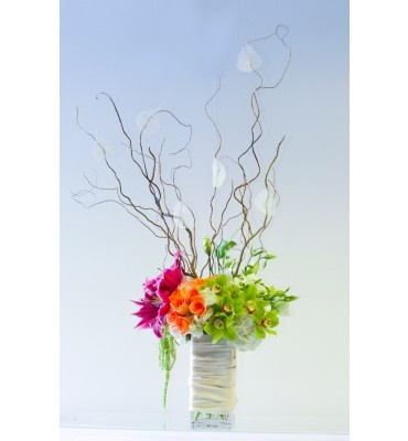 Lush, petal to petal, made more dramatic with tall curly willow and a satin wrap vase treatment.