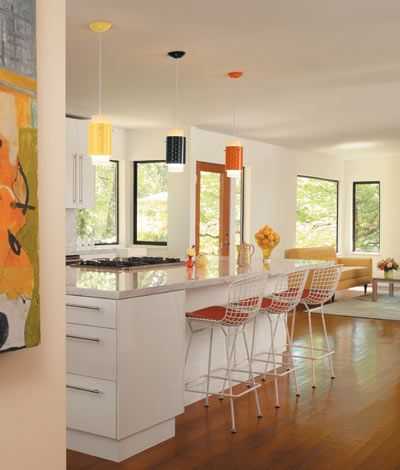 The Corona, a Mid-Century Modern pendant fixture. Looks great in multiples. Choose a color.: Ideas, White Kitchen, Colour Pendants, Corona Pendants, Pendant Lights, White Cabinets, Kitchen Cabinets
